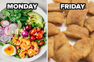 Monday label over salad and friday label over pizza rolls