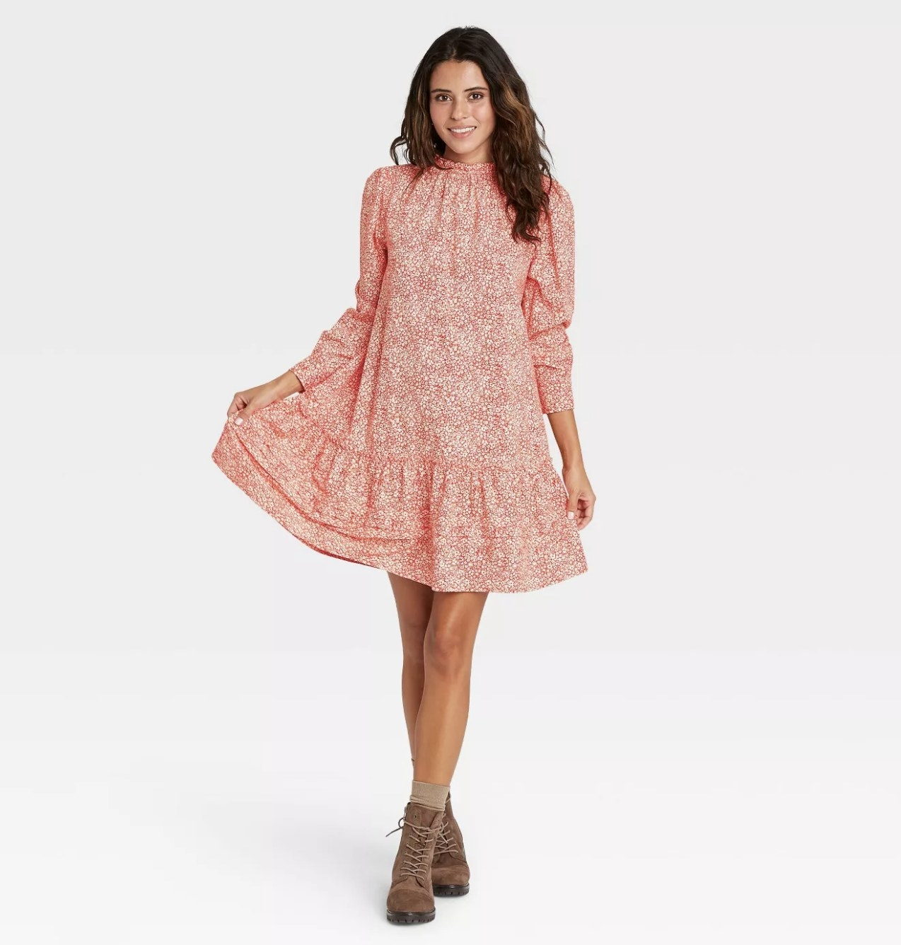 long puff-sleeve dress in pink floral pattern