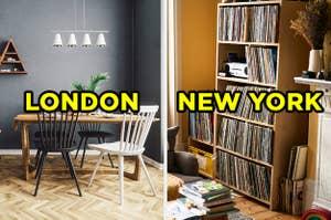 在左边,有一个木制的桌子和椅子,香料厨房架标附近的一个窗口