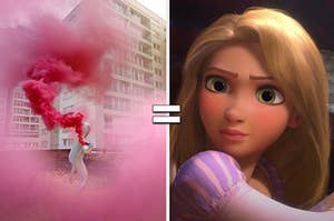 """Person throwing pink dust on a rooftop and Rapunzel from """"Tangled"""""""