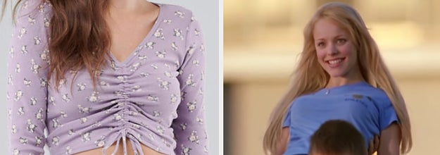 a ruched long sleeve crop top with tiny flowers and a still of Regina being carried in Mean Girls