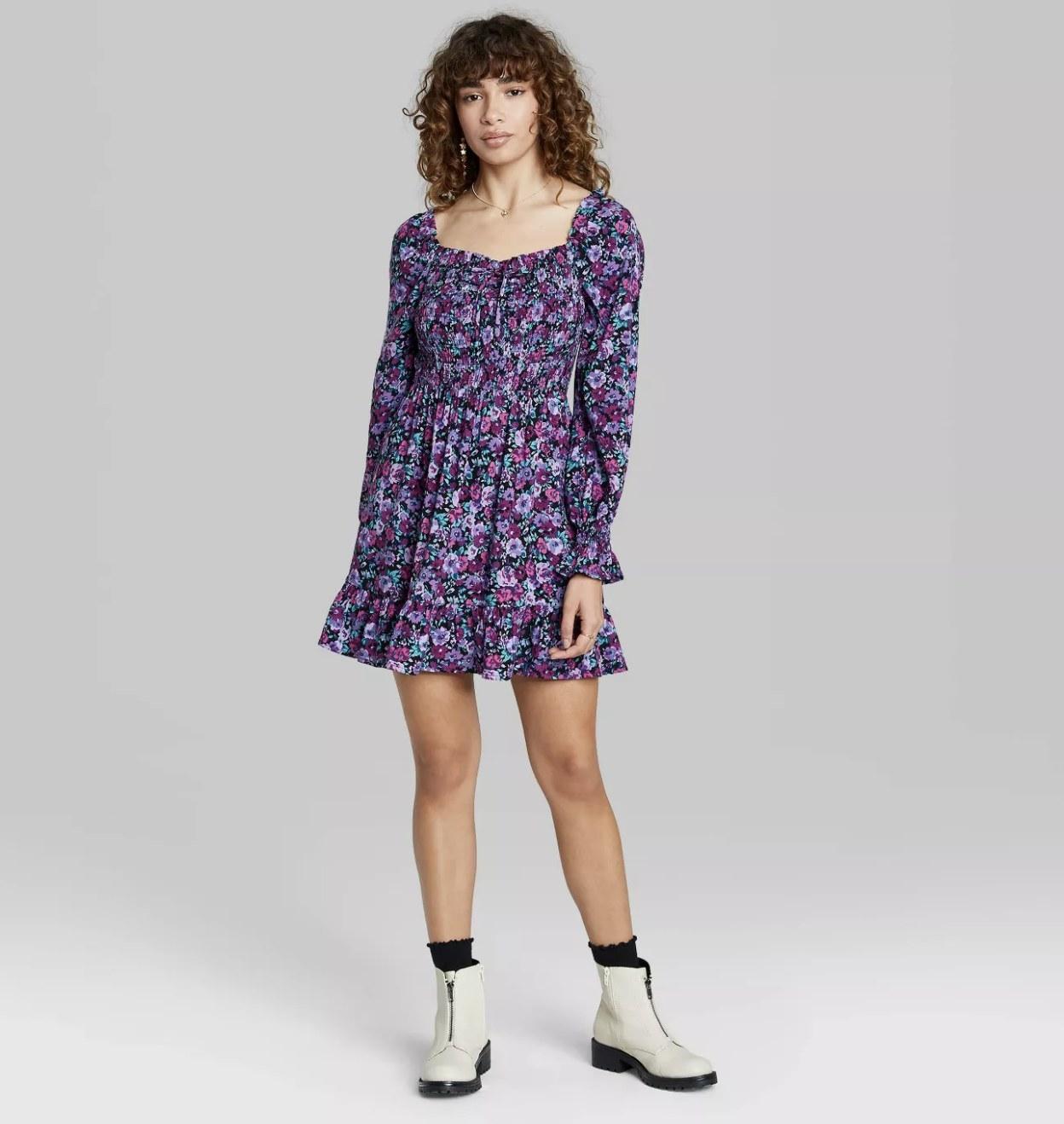 long-sleeve floral midi dress in purple
