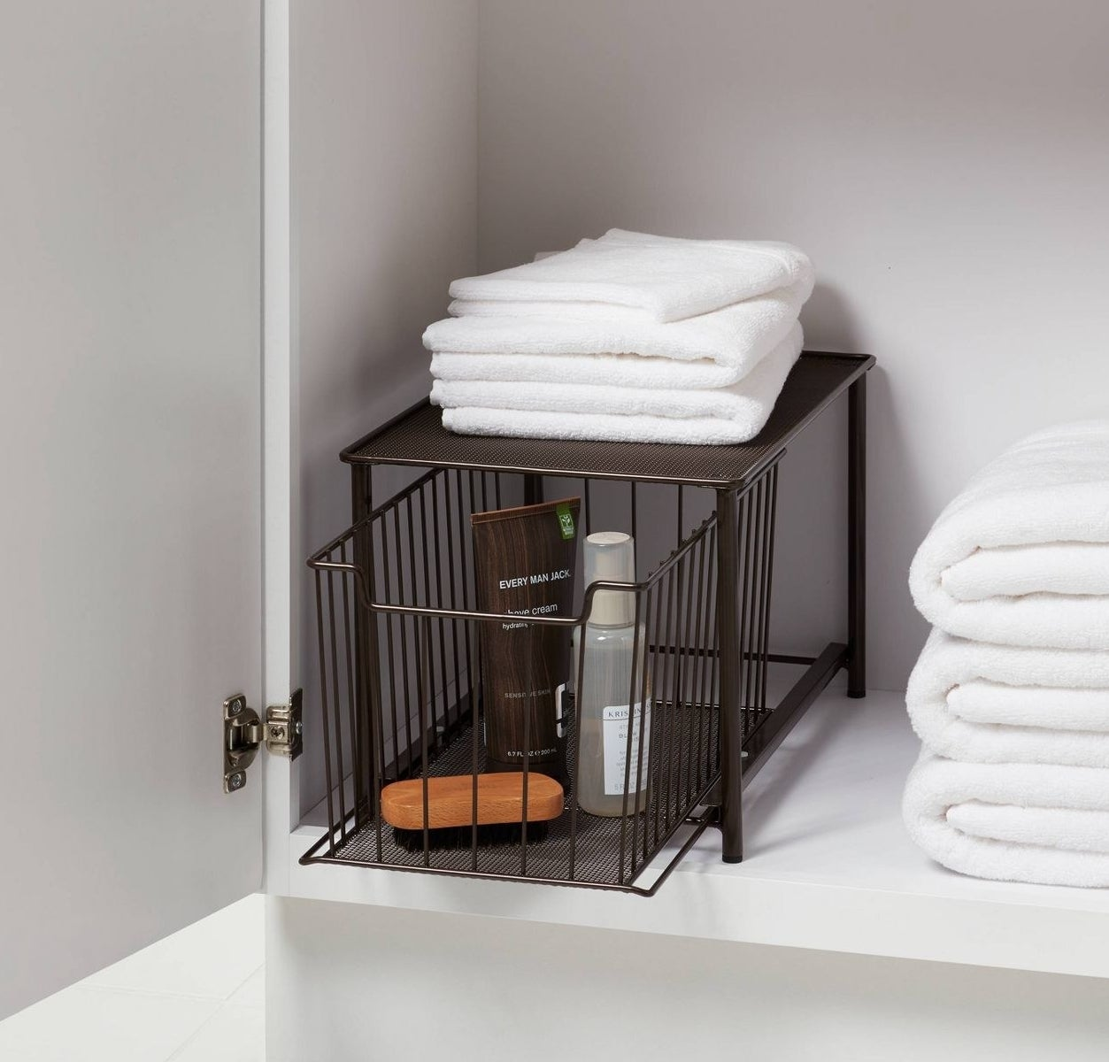 Bronze organizer and drawer with drawer space for bathroom essentials