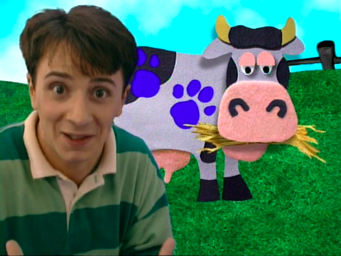 Steve in front of a cow with three clues on it
