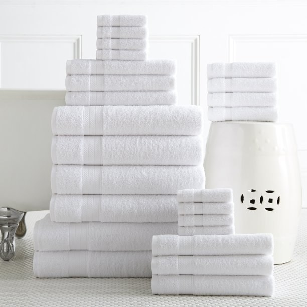 The towel set, which includes bath sheets, hand towels, and wash cloths
