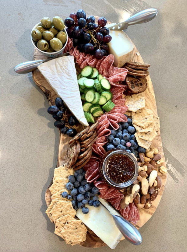 Reviewer photo of assortment of fruit, meat, and cheese on serving board