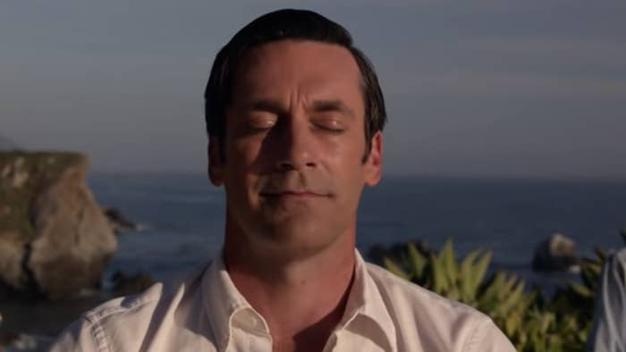 """Don Draper from """"Mad Men"""" meditating in the finale"""
