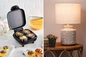 左边是一个迷你蛋杯制作器,右边是一盏雕刻着动物的白色灯