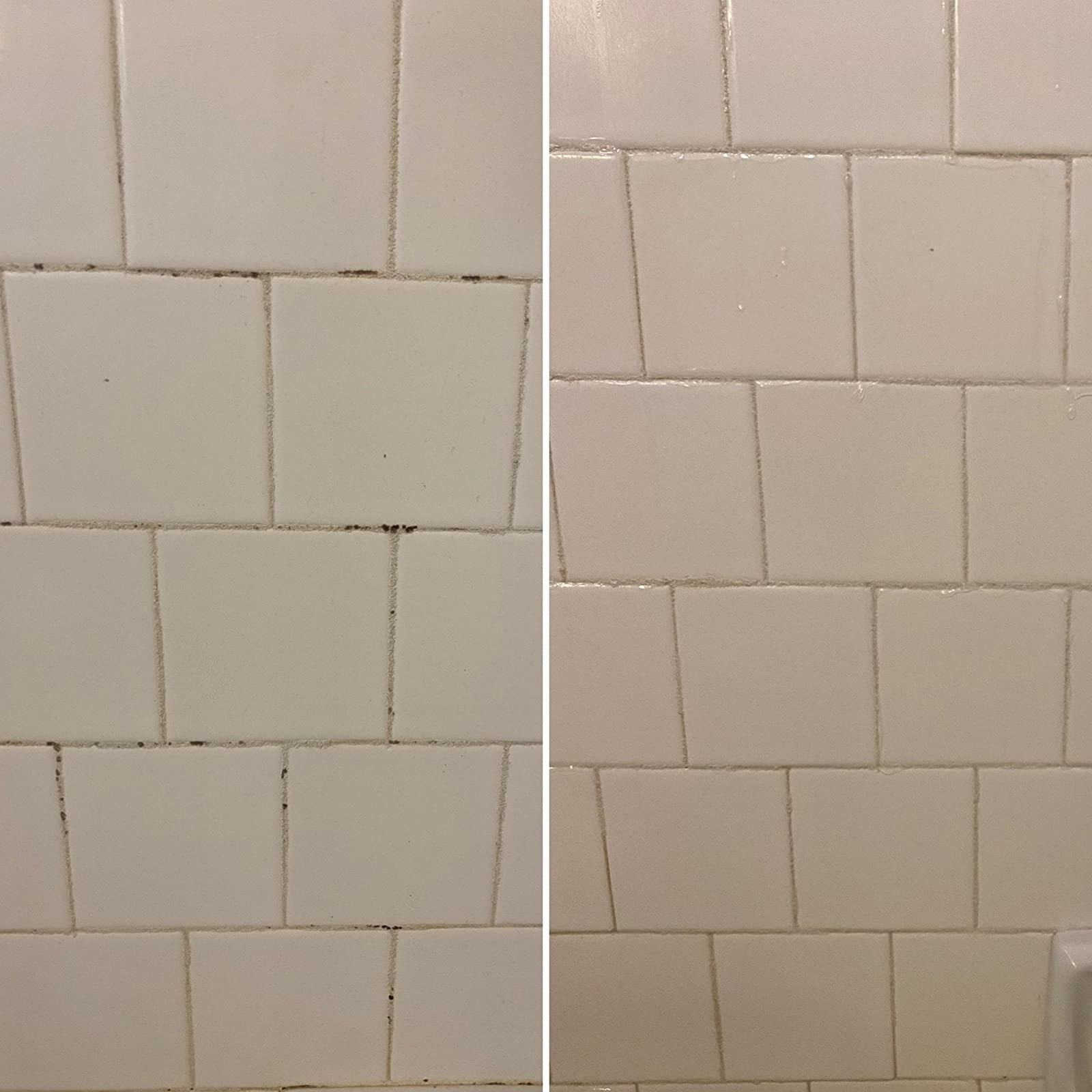 Reviewer before photo of their shower with black stains in their white shower grout next to an after photo showing the stains are totally gone
