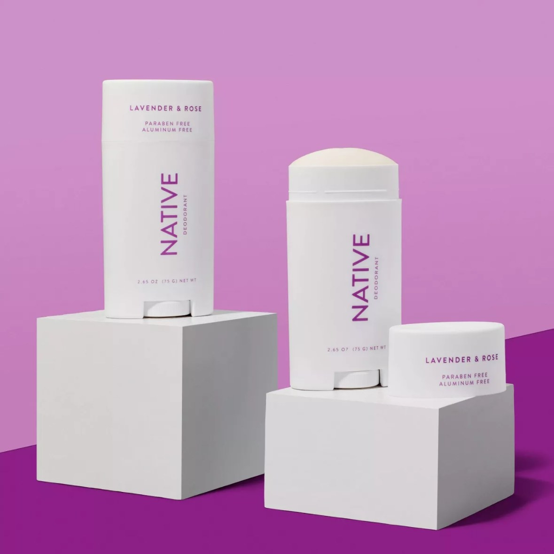 native deodorant on purple background