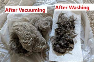 Reviewer photo of a huge pile or fur and dirt that the vacuum sucked up next to another big pile of fur that was removed after using the washing feature