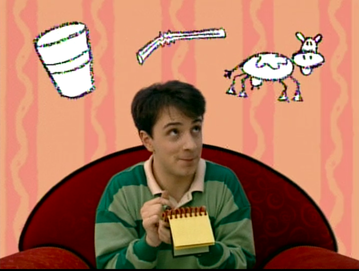 Steve looking at his hovering cup, straw and cow drawings