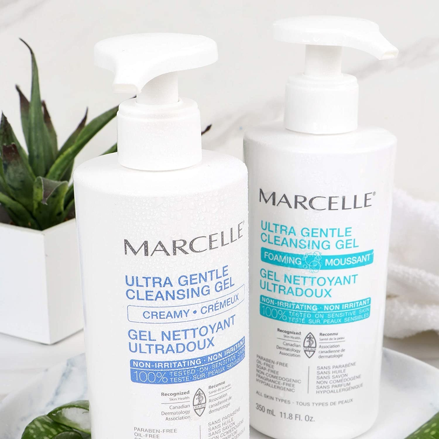 two bottles of the Marcelle cleansing gel