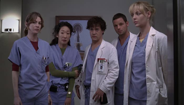 The original interns: Meredith, Cristina, George, Alex, and Izzie