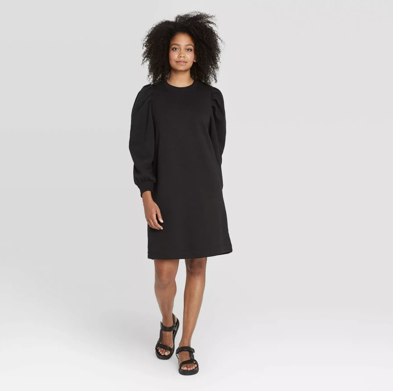 long sleeve sweater dress with pleated puff sleeves