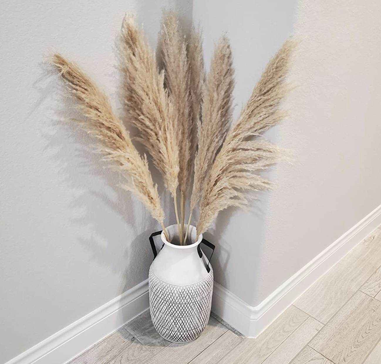 Reviewer photo of Pampas grass in vase on floor