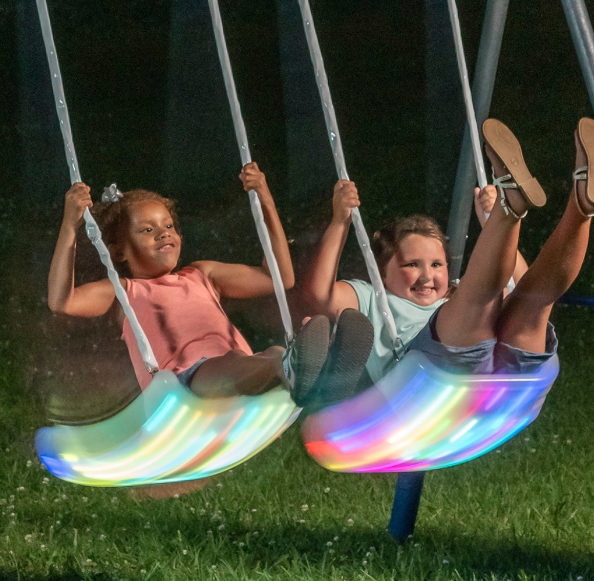 The metal swing set with LED lights
