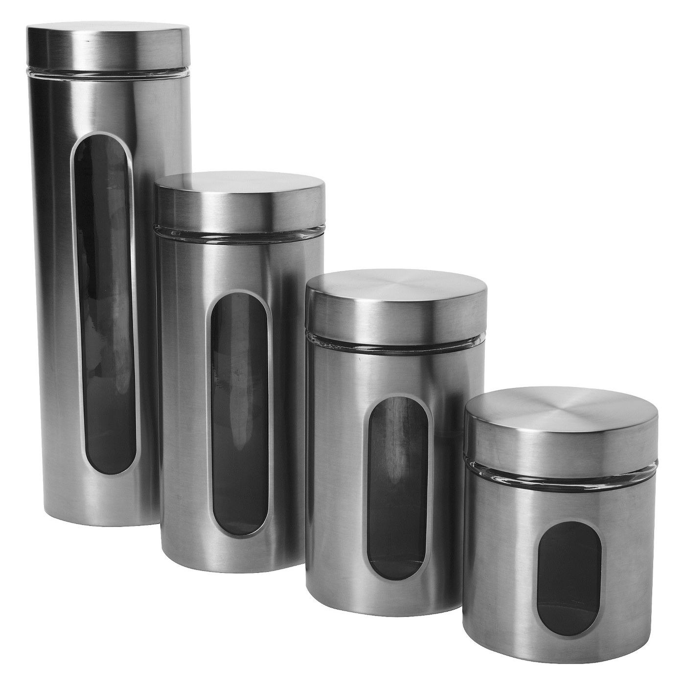 Stainless steel canisters in assorted sizes