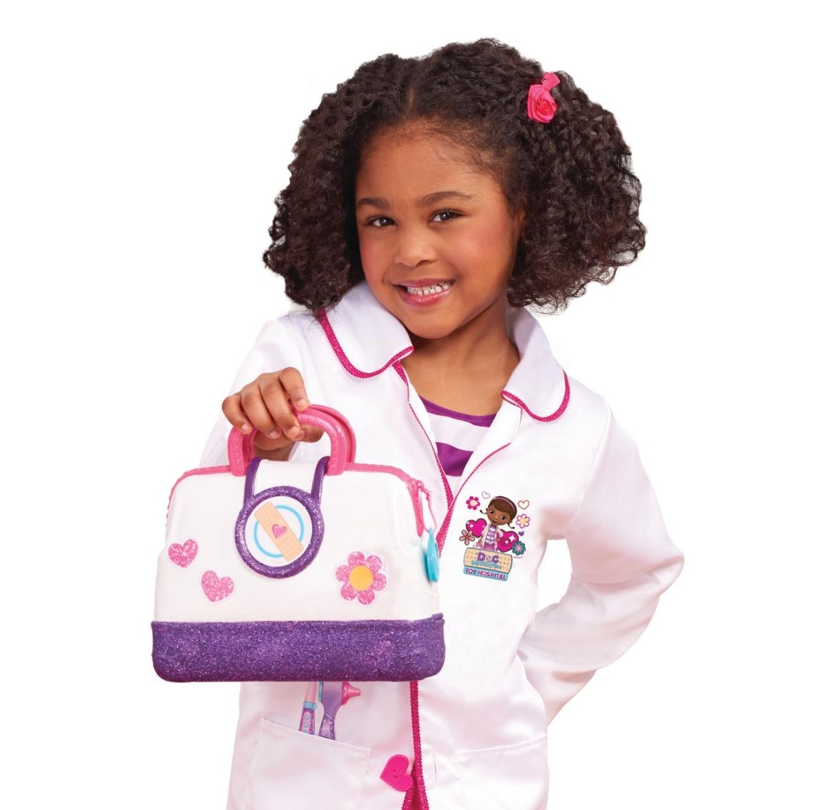 The play hospital bag with a stethoscope, thermometer, and syringe with lights
