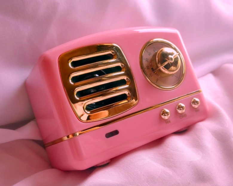 reviewer photo showing mini speaker in pink