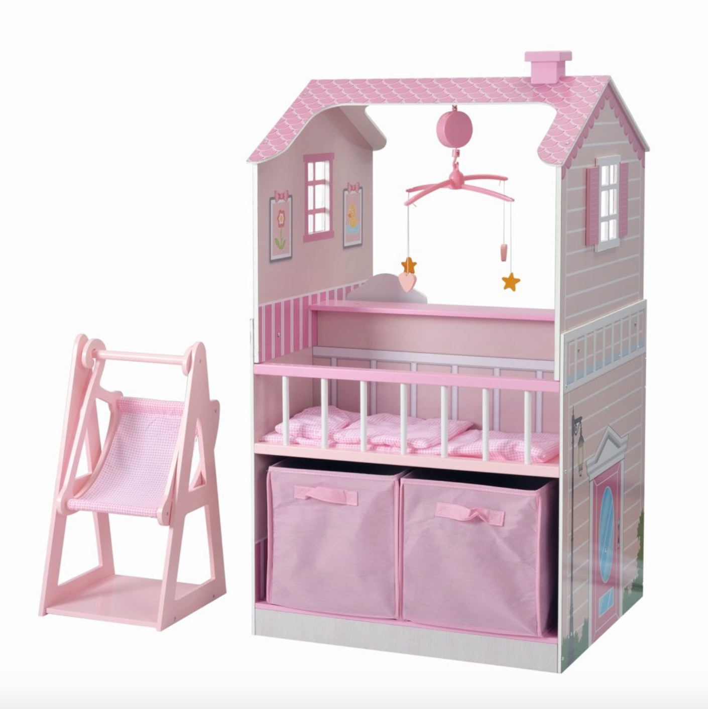 The all in one baby doll nursing station with pink accents