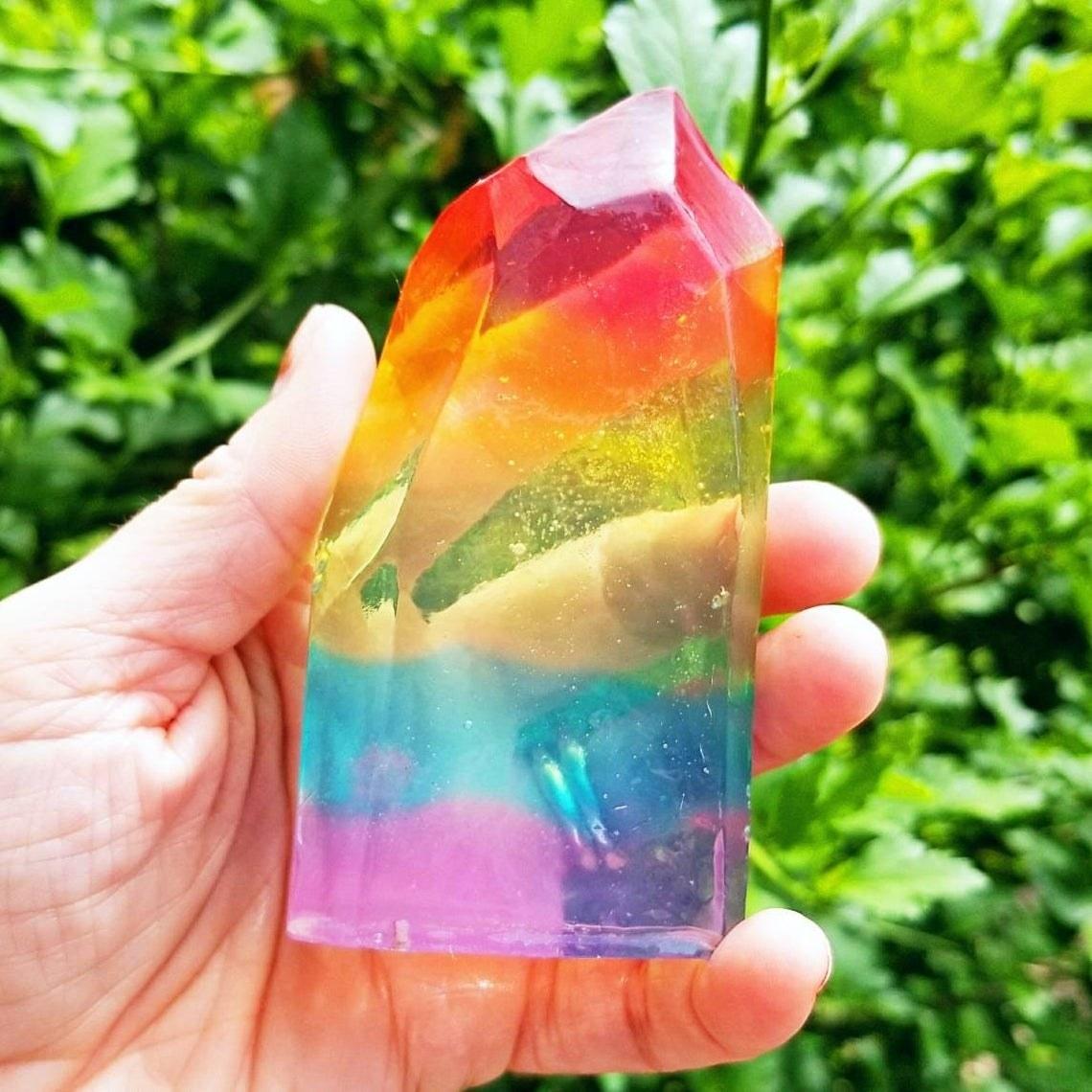a transparent rainbow rock soap