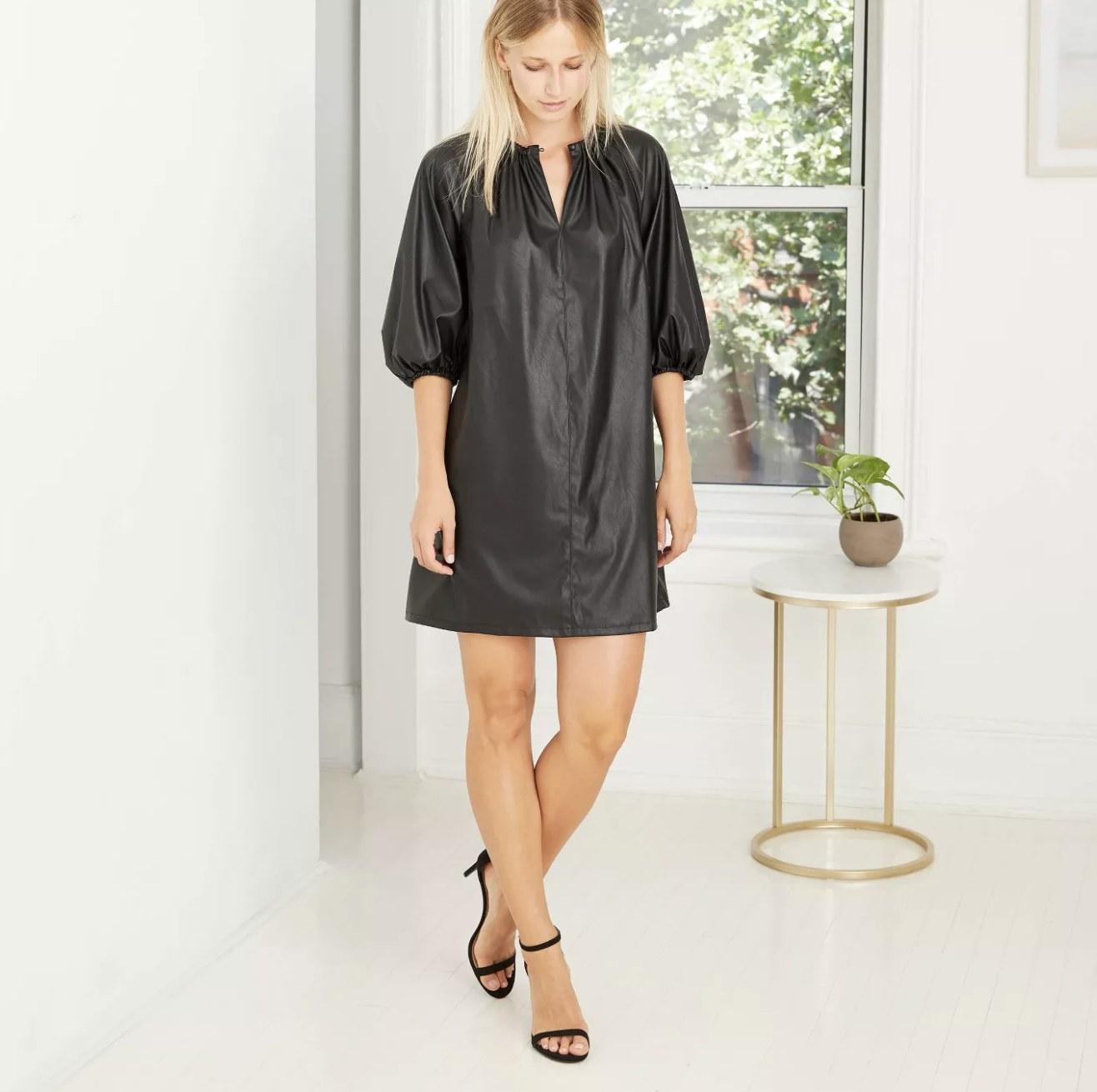 black faux-leather quarter-sleeve shift dress