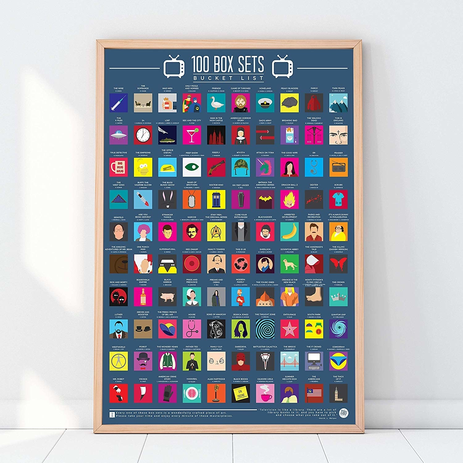 The rectangle-shaped poster in blue with 100 small squares of illustrations of TV shows to watch