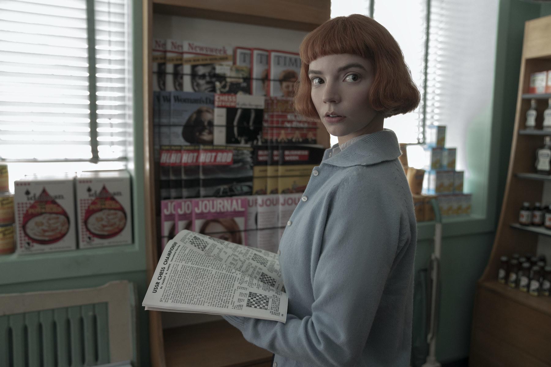ANYA TAYLOR-JOY as BETH HARMON in episode 102 of THE QUEEN'S GAMBIT.