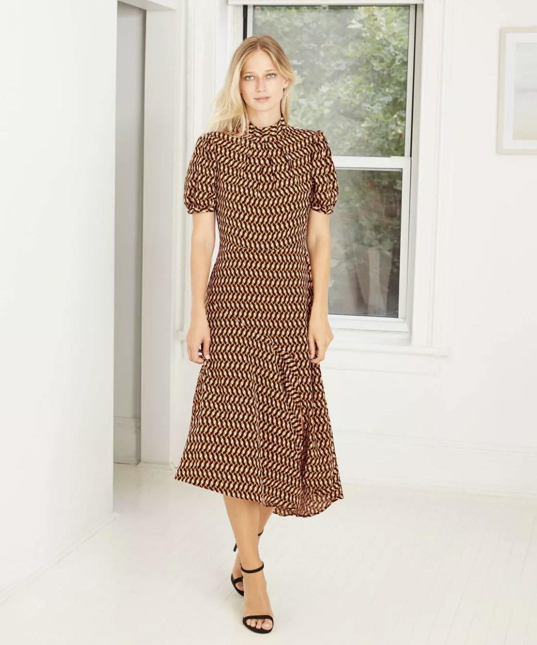 short-sleeve geometric print dress
