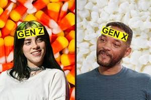 """比莉·艾莉什的额头上印着""""Z世代"""",威尔·史密斯的额头上印着""""X世代""""——他们是对鱼子酱和玉米糖做出反应"""