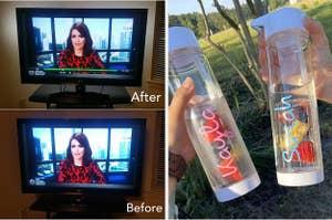 (left) TV lights (right) Love Island-Inspired water bottle