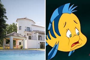 A mansion and flounder from little mermaid