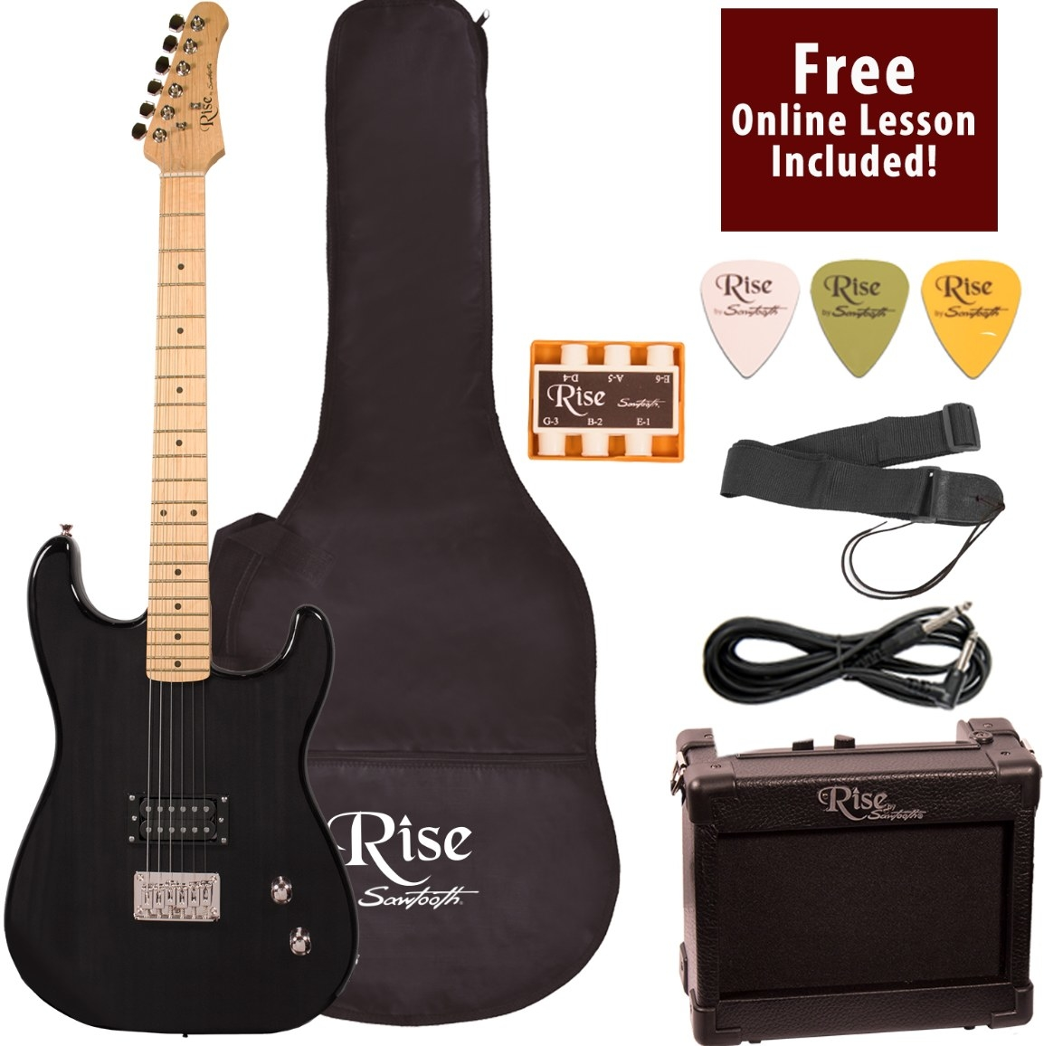 The beginner's guitar set in black with all its accessories