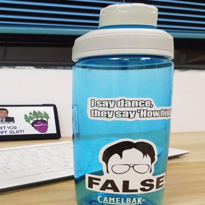 "A close-up of a sticker on a water bottle; it has the outline of Dwight's forehead and glasses and says ""false"""
