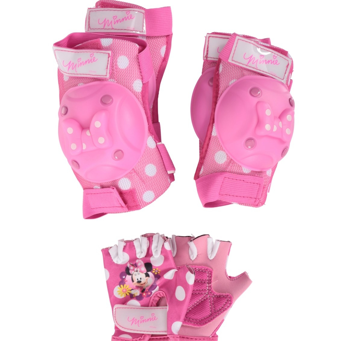 The Minnie Mouse protective pad and glove set in pink