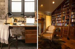 Side by side image showing a cosy desk and a library with an arm chair and book ladder