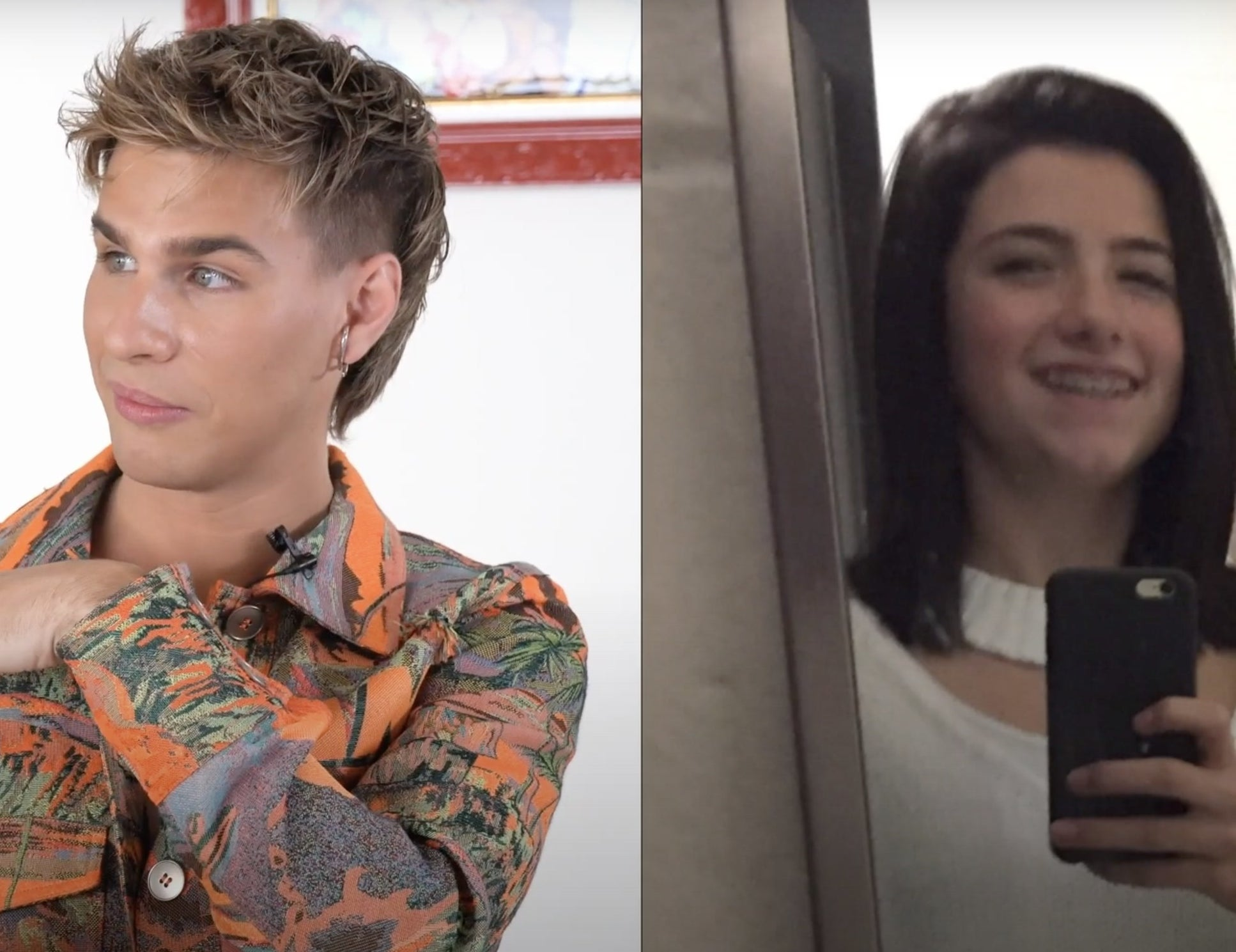 Brad points out how deep Charli's hair part was in an old photo