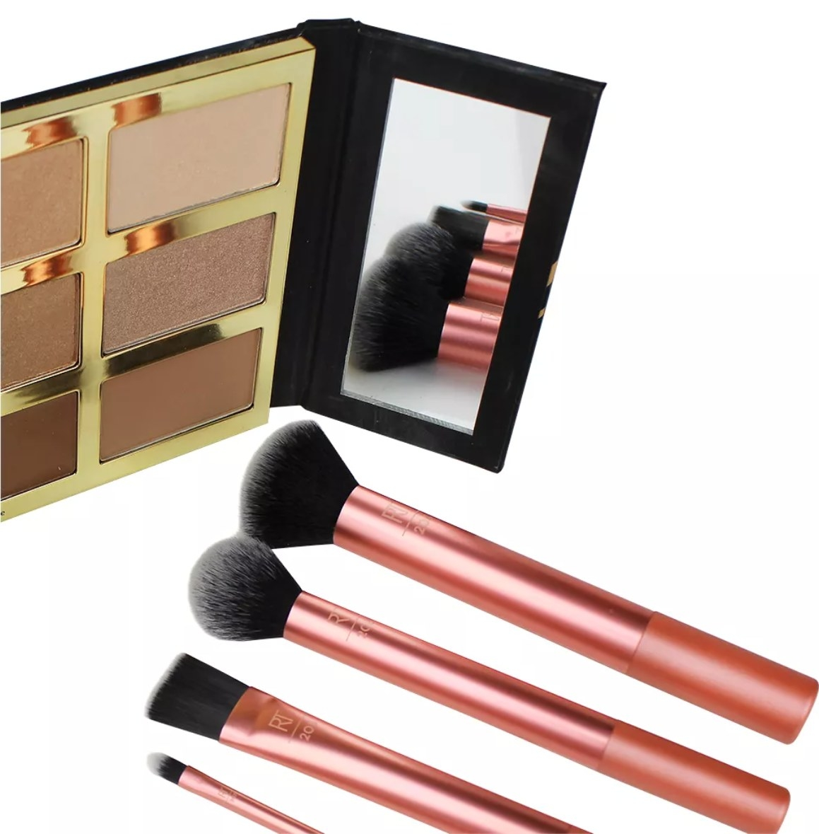 The brushes for contouring, powder, and eyeshadow