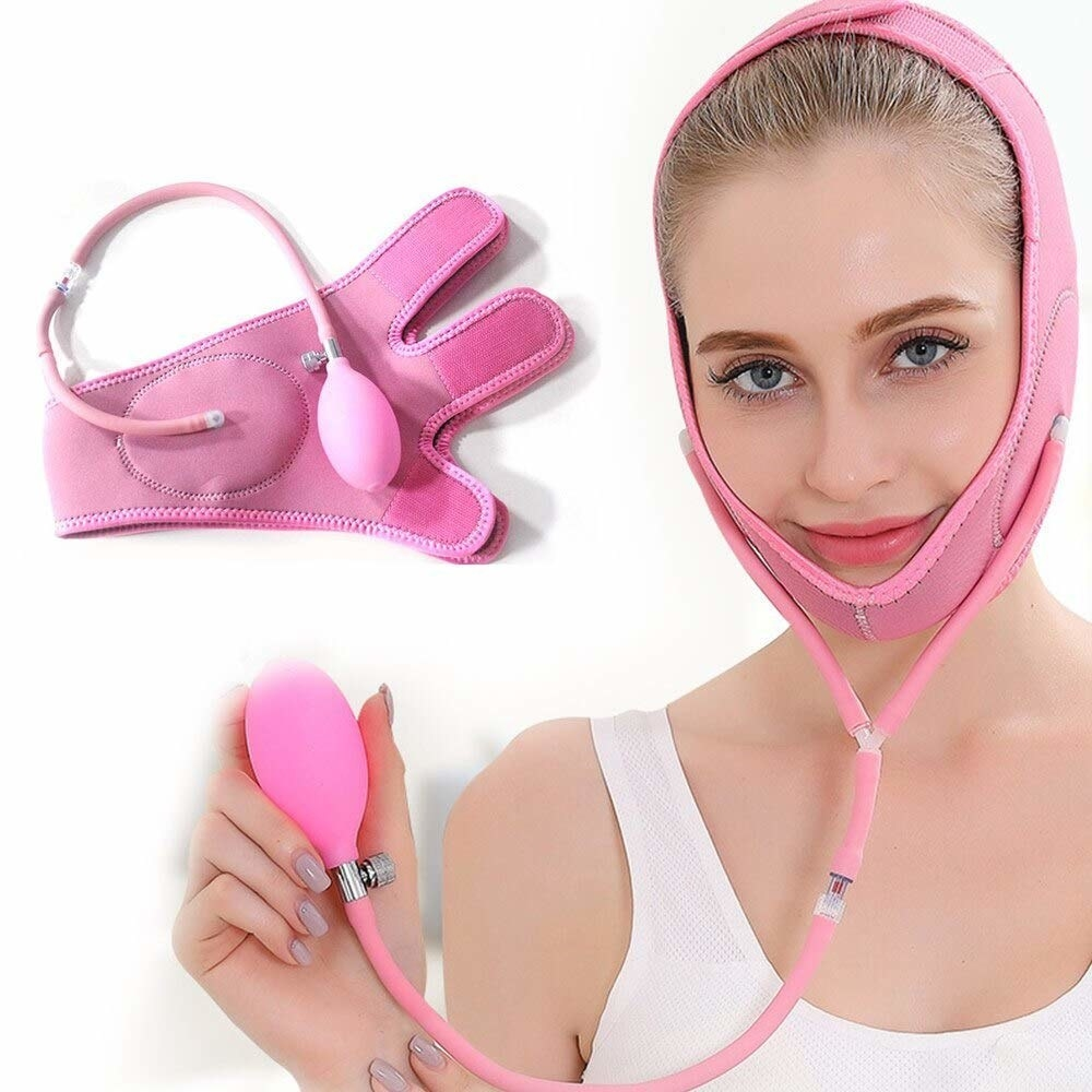 A model wearing a stress reducing contraption