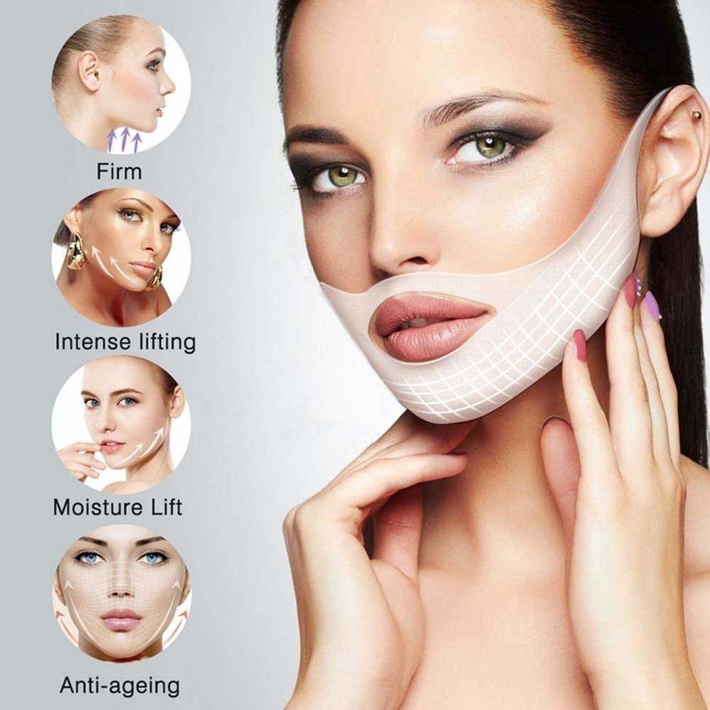A model wearing a face slimming mask