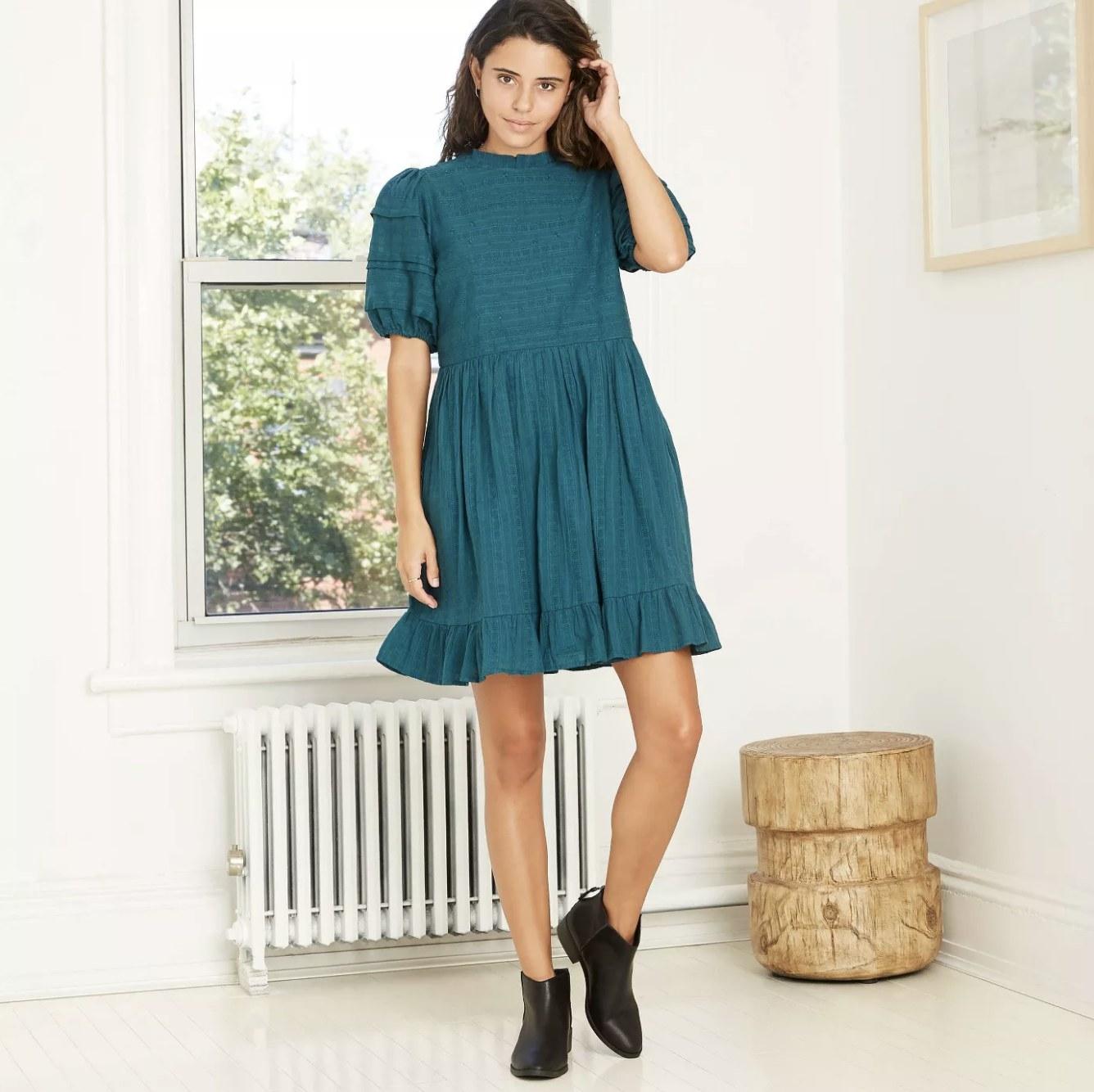 teal puff short-sleeve eyelet dress