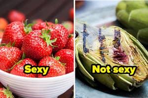 在上面的字性感草莓,和朝鲜蓟字在上面不性感