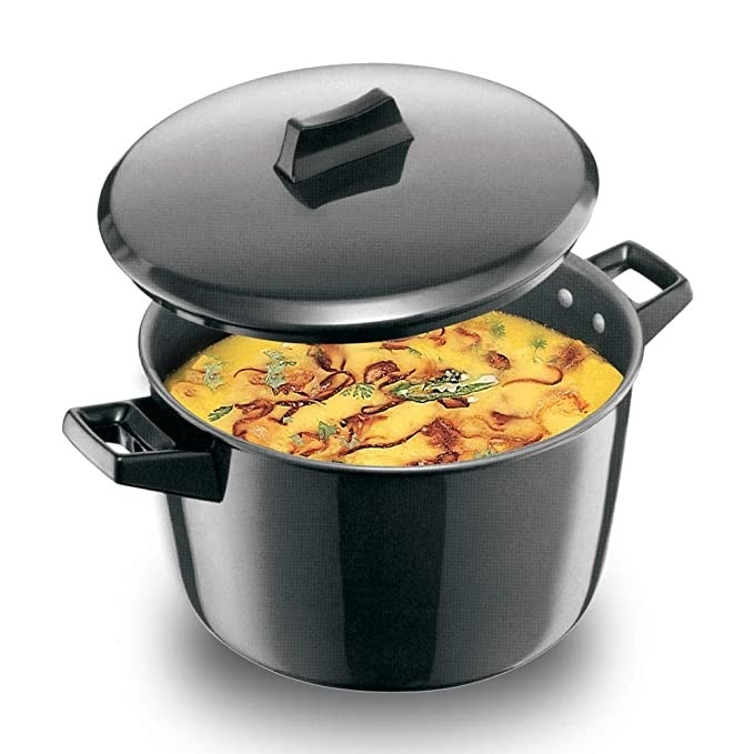 Black stock pot with a lid.