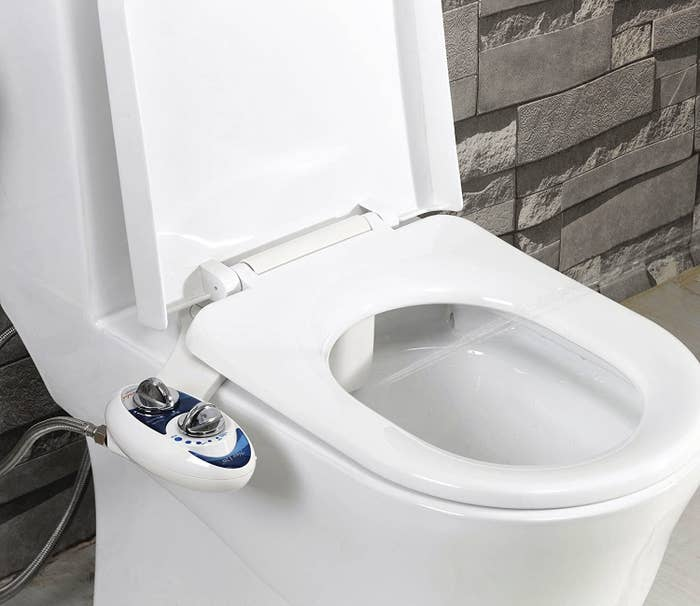 bidet attachment on a toilet