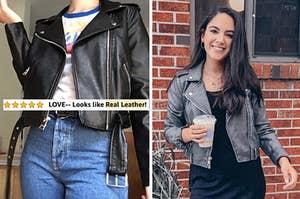 """在左审阅者身上穿着黑色摩托车夹克与文本""""爱 - 看起来像真皮""""和右审查员穿着灰色人造绒面革夹克"""