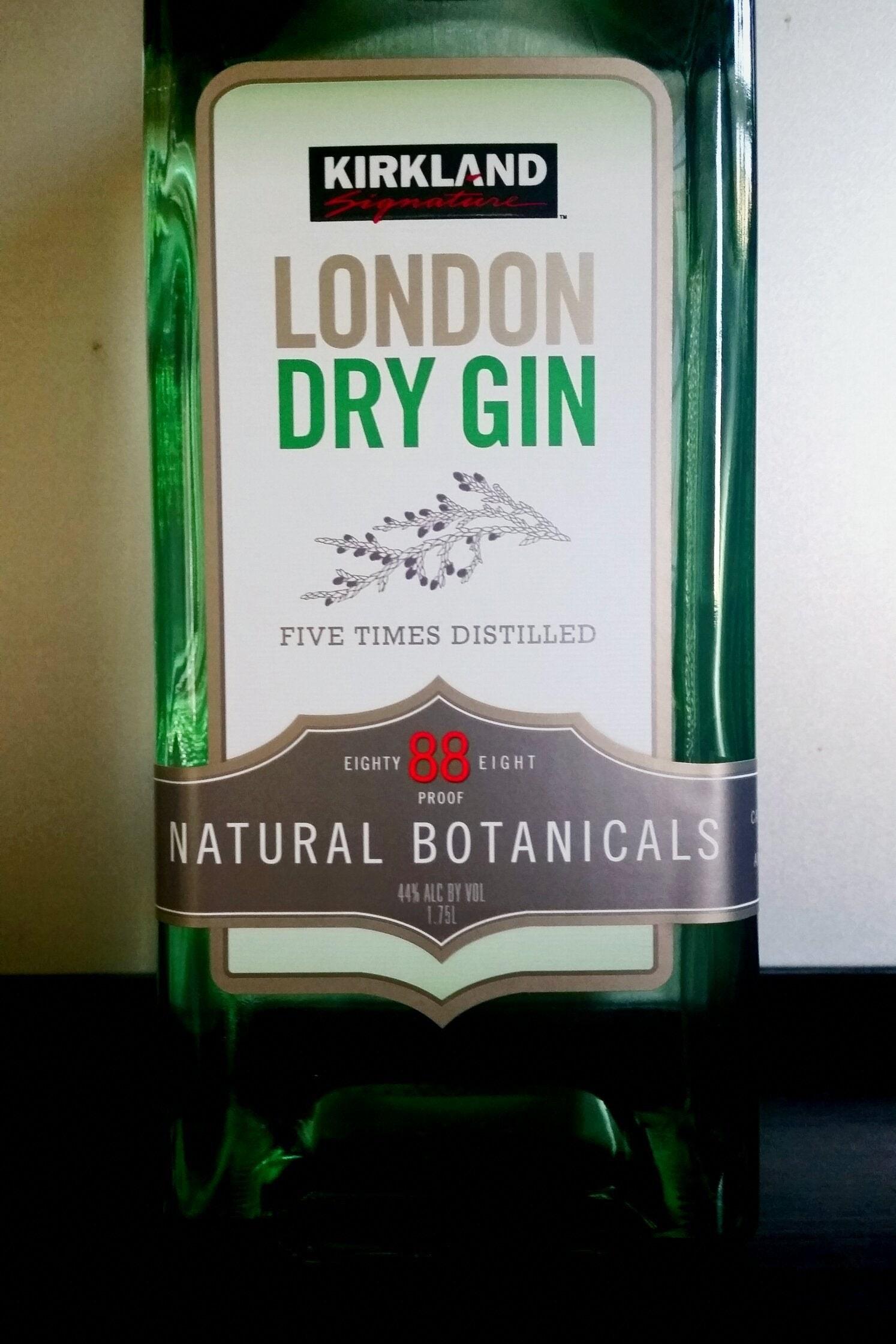 A bottle of Kirkland London dry gin.