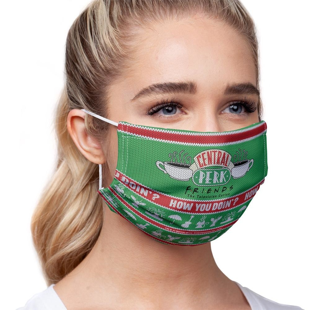 Model wearing a Friends holiday face mask