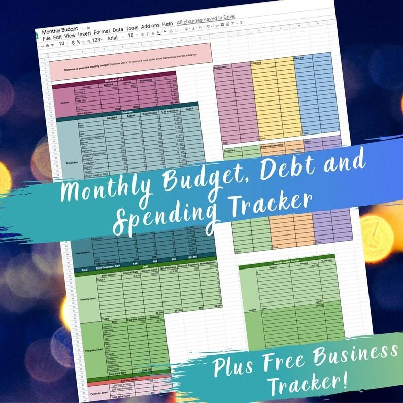 colorful budget monthly tracker