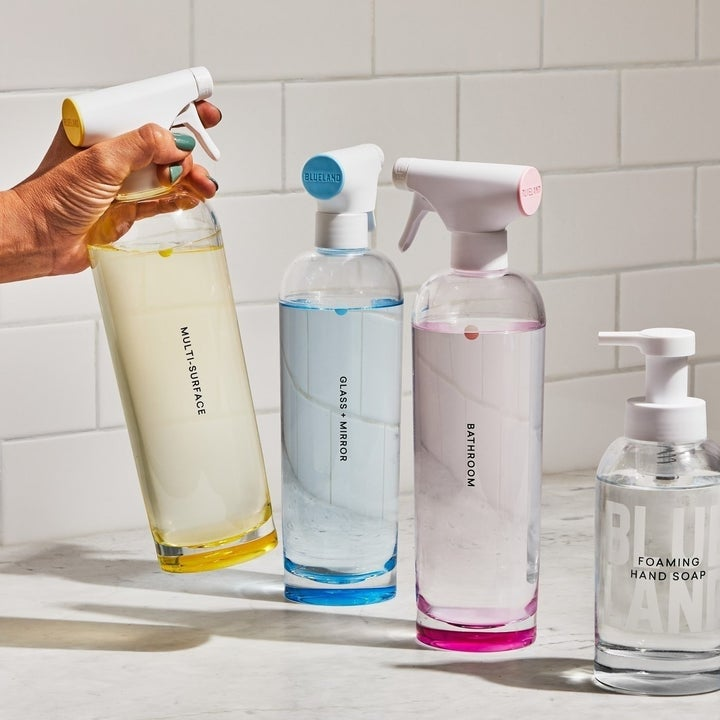 The bottles filled with the natural cleaning products